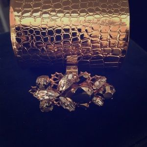 Bling bling hammered cuff & crystal ring set